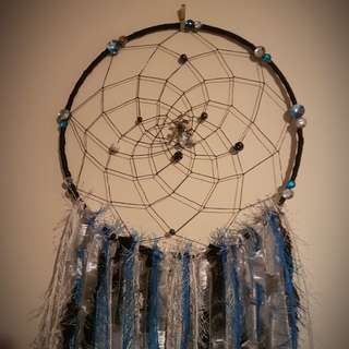 Stunning handmade blue/black dreamcatcher