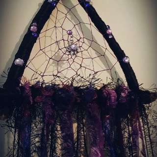 Stunning handmade purple/black dreamcatcher