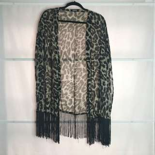 Missguided Leopard Print Tassel Fringe Cover Up Size 12