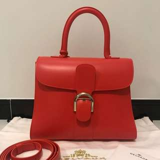 Delvaux Brillant Coral box calf MM top handle bag