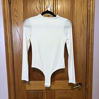 Room Service White Mock-neck Bodysuit