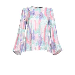 LOOKING FOR❗️ Poplook Cara Flared Blouse / Top in Multicolour