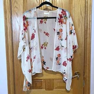 Garage Beige & Coral Florals Kimono
