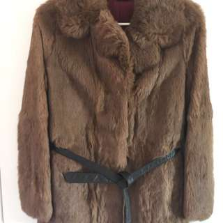 Genuine brown fur jacket with leather belt