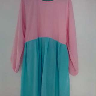 Baju dres panjang untuk wanita tosca dan pink