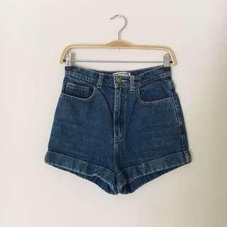 American Apparel - High Waist Denim Shorts
