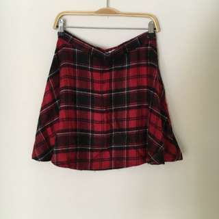 American Apparel - Red Plaid Circle Skirt