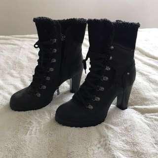 Black Combat Heel Boots