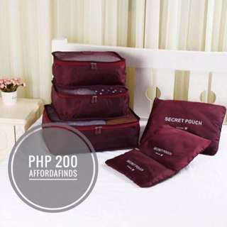 6in1 Travel Luggage Organizer (Maroon)