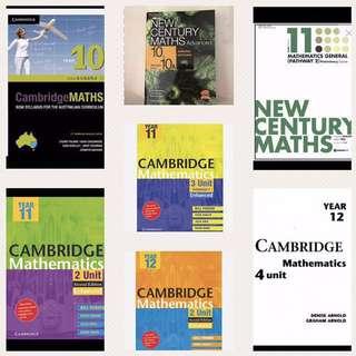 PDF & hard copy textbook - maths yr 10/ 11/ 12 courses (general, 2 unit, 3 unit, 4 unit)