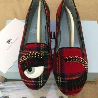 Authentic Chiara Ferragni Appliqués Tweed Loafers