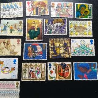 英國聖誕郵票17枚
