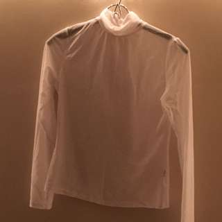 white turtle neck mesh shirt