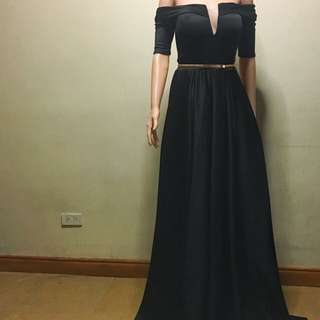 Off shoulder black gown for rent only