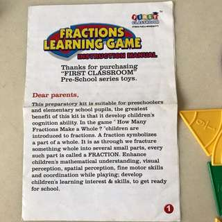 Learning fraction game