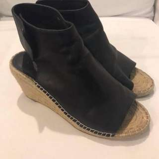 mint condition authentic Jimmy choo peeptoe black wedge espadrilles - 38 - fts 7.5-8