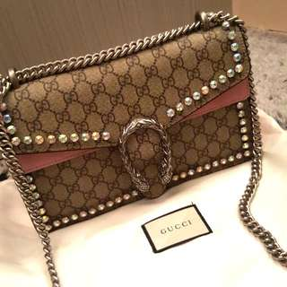 Gucci pink Dionysus crystal bag
