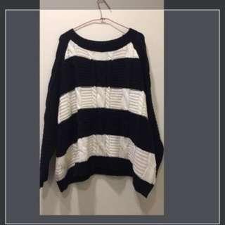 日本購回二手 黑白條紋針織毛衣 日牌jouetie 150