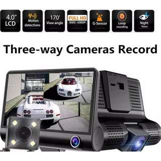 Car Camera 3 Lens - record & view front, inside, rear