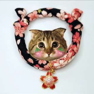 Oui.abi Japan Kimono Cat Dog Rabbit Pet Collar - Sakura Night