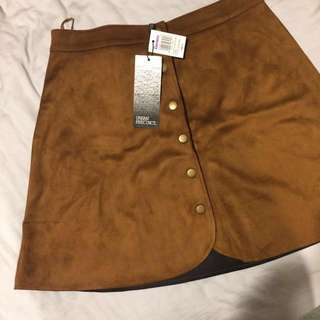 Brown Suedette A-line Skirt