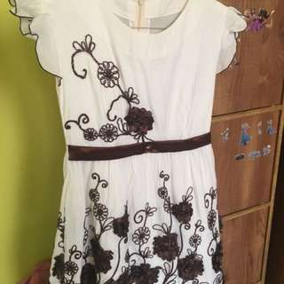 Dress white brown