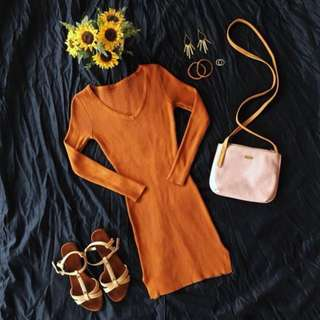 Knitted 3/4 sleeves Dress