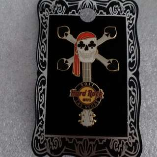 Hard Rock Cafe Pins ~ LAS VEGAS (STRIP) HOT 2011 SKULL IN SPADE GUITAR!