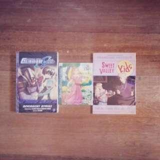 3 books (Gundam Seed, The Secret Garden, Sweet Valley Kids)