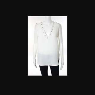 Zara white v neck with studs