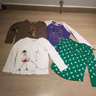 Bundle of size 5 girls Long sleeved shirts comfortable cotton