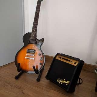 Epiphone Special II guitar and Epiphone guitar amp studio 10S