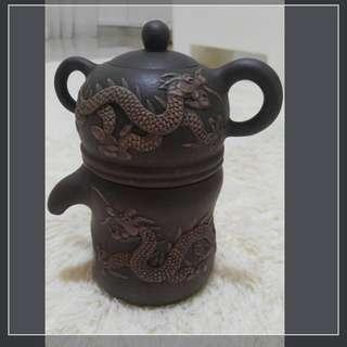 Rare Carved Dragon Teapot