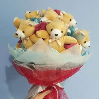 BN Bear Bouquet with Blue Roses