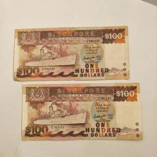 2pc old sg $100 note 2 x120
