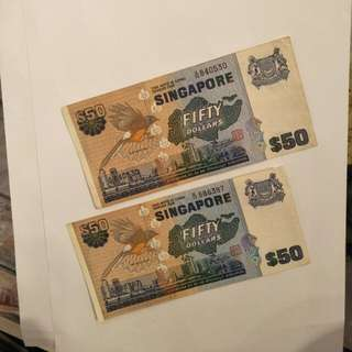 Bird Series 2pc of $50 old notes  2 x 68