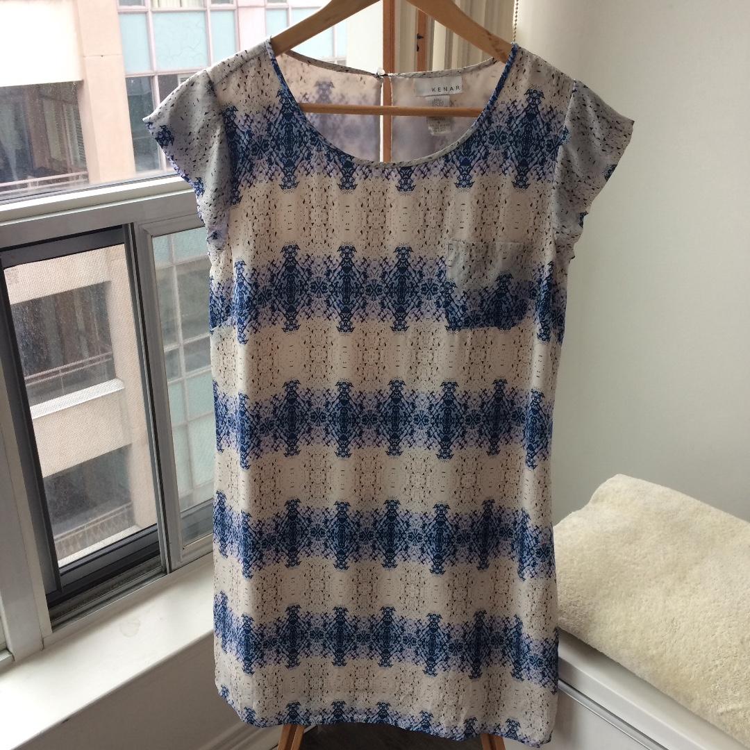 100% Silk Blue Porcelain Print Short Sleeve Dress