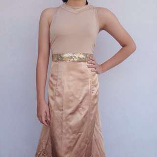 Plus size nude formal gown with gold sequin detail
