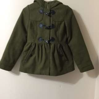 Green coat for girls size 14 in good condition