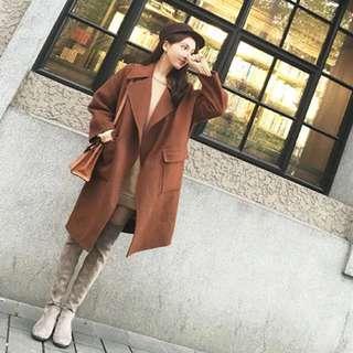 🚚 全新蜜糖色咖啡色毛呢長版大衣