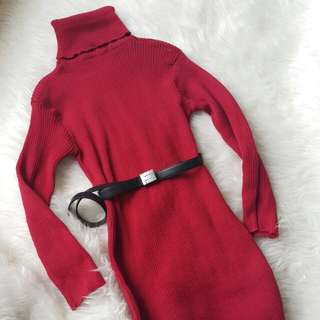 Red turtle neck dress #CNY2018