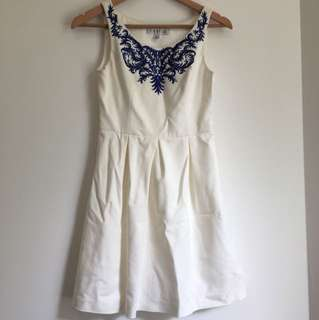 Blue embroider white dress