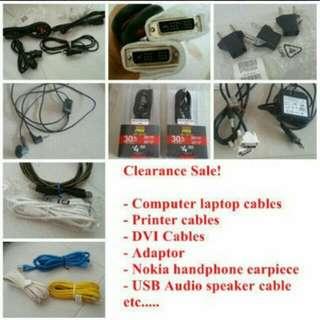 Clearance cables computer laptop printer handphone cables dvi usb etc