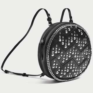 BNWT ZARA Round Studded genuine leather Backpack RRP$119