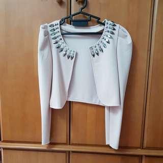 Cream beige crop jacket with embellishments