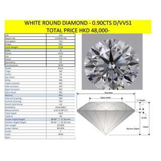 White Round Diamond - 0.90cts (D/VVS1)