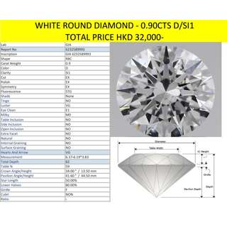 White Round Diamond - 0.90cts (D/SI1)