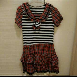 🚚 日系 蘇格蘭風 洋裝