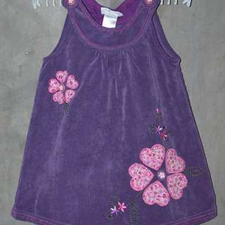 Purple corduroy dress with flower designs EUC
