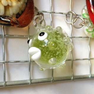glass charm puffer fish
